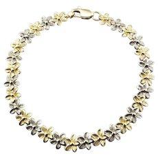 Vintage 14 Karat Yellow and White Gold Flower Bracelet