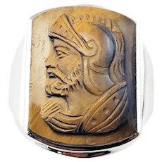 Vintage 14 Karat White Gold and Tiger's Eye Roman Soldier Ring Size 9.5