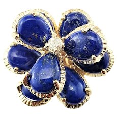 Vintage 14 Karat Yellow Gold Lapis Lazuli and Diamond Flower Ring Size 7.5