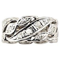 Vintage 14 Karat White Gold and Diamond Wedding Band Ring Size 6.25