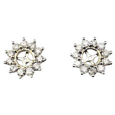 Vintage 10 Karat White Gold and Diamond Earring Jackets