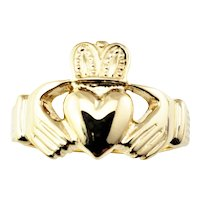 Vintage 14 Karat Yellow Gold Claddagh Ring Size 11.25