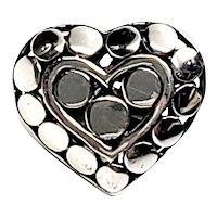 John Hardy Kali Sterling Silver Heart Pebble Pin