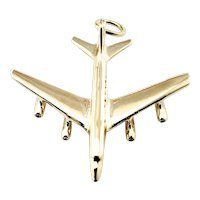 Vintage 14 Karat Yellow Gold Airplane Charm