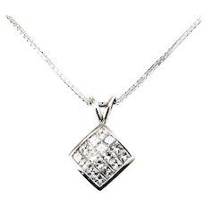 Vintage 14 Karat White Gold Princess Cut Diamond Pendant Necklace
