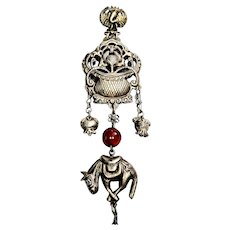 Antique Chinese Silver Hollow Donkey Amulet with Carnelian Bead
