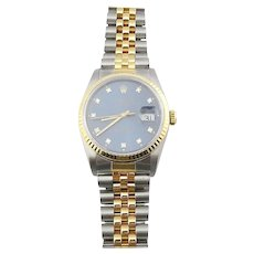 1989 Rolex Men's Two Tone Date Just Watch Blue Diamond Dial 16233