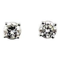 Vintage 14 Karat White Gold Diamond Stud Earrings .92 TCW