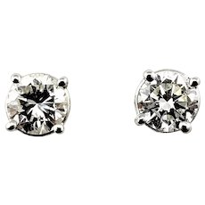 Vintage 14 Karat White Gold Diamond Stud Earrings .92 TCW