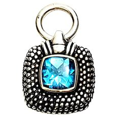 Sterling Silver 14K Yellow Gold Blue Topaz Caviar Pendant