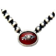 Oxidized Sterling Silver Bead Necklace with Carnelian Pendant and Applied Accent