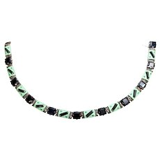 Art Deco Theodor Fahrner 935 Silver Onyx Enamel and Marcasite Panel Link Necklace