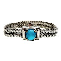 DS Sterling Silver 18K Gold Blue Topaz Double Wheat Chain Bracelet