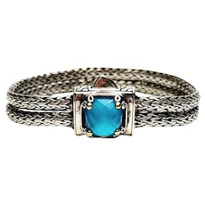 DS Sterling Silver 18K Gold Blue Topaz Double Wheat Chain Bracelet