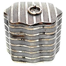 Vintage Dutch Silver Ribbed Texture Trinket Box