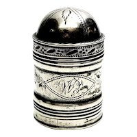 Antique English Sterling Silver John Turner Nutmeg Grater Dome Lid