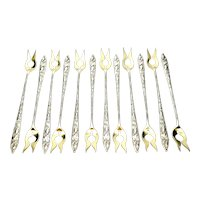 Set of 12 Tiffany & Co Squash Vine Sterling Silver Gold Wash Oyster Forks