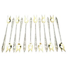 Set of 12 Tiffany & Co Squash Vine Sterling Silver Gold Wash Oyster Forks