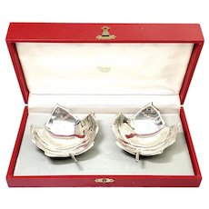 Set of 2 Alfredo Sciarrota for Cartier Sterling Silver Maple Leaf Bowls with Box