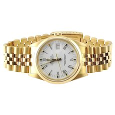 1986 Rolex Men's Presidential 18K Yellow Gold White Roman Dial Watch 34mm
