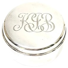 Tiffany & Co Sterling Silver Small Round Jewelry Trinket Box
