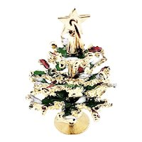 Vintage 14 Karat Yellow Gold and Enamel Articulated Christmas Tree Charm
