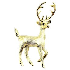 Vintage 18 Karat Yellow Gold and Sapphire Deer Buck Brooch/Pin