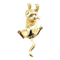Vintage 14 Karat Yellow Gold Cat Pendant
