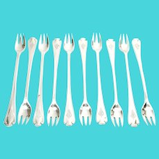 Set of 10 Tiffany & Co Flemish Sterling Silver Oyster Cocktail Forks