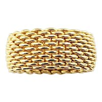 Vintage Tiffany & Co. 18 Karat Yellow Gold Mesh Band Ring Size 6