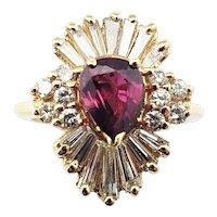 Vintage 14 Karat Yellow Gold Ruby and Diamond Ring Size 4.5
