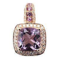 Vintage 14 Karat Rose Gold Amethyst and Diamond Pendant