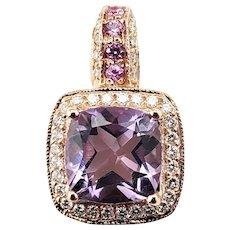 Vintage 14 Karat Rose Gold Amethyst and Diamond Pendant