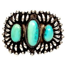 Native American Daisy M Tsosie Large Sterling Silver Turquoise Cuff Bracelet