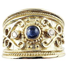 Vintage 14 Karat Yellow Gold Cabochon Sapphire and Diamond Band Ring Size 6.5