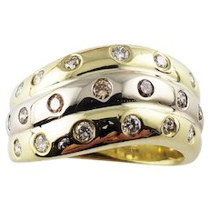 Vintage 18 Karat Yellow and Rose Gold and Diamond Band Ring Size 7