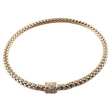 Vintage 18 Karat Rose Gold and Diamond Flexible Mesh Bracelet