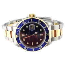 1983 Rolex 16613 Two Tone Blue Dial Blue Bezel Men's Watch 40mm