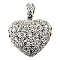 Vintage 14 Karat White Gold Diamond Heart Pendant
