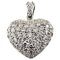 Vintage 14 Karat White Gold Diamond Heart Pendant