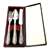Antique Albert Coles Coin Silver Fork Spoon Knife Set with Box