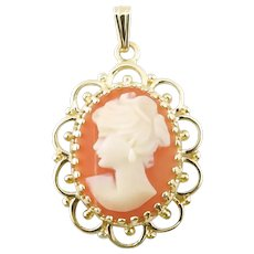 Vintage 14 Karat Yellow Gold Cameo Pendant Necklace