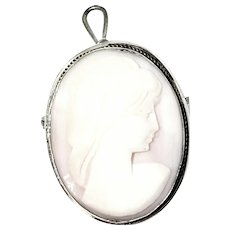 Vintage 800 Sterling Silver Shell Cameo Brooch Pendant