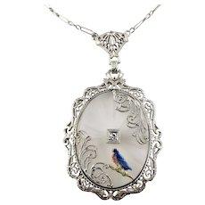 Vintage 14 Karat White Gold Glass and Diamond Enamel Pendant Necklace