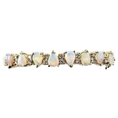 Vintage 14 Karat Yellow Gold Opal and Diamond Bangle Bracelet