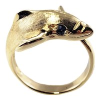 Vintage 14 Karat Yellow Gold and Sapphire Dolphin Ring Size 3.75
