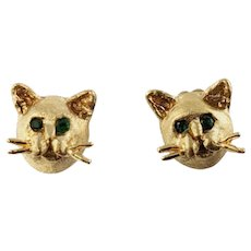 Vintage Slack 14 Karat Yellow Gold and Emerald Cat Earrings