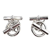 Hermes Paris Sterling Silver Cufflinks
