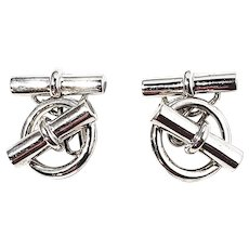 Hermes Paris Sterling Silver Cufflinks