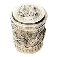 Antique Burmese 950 Silver Betel Box Canister